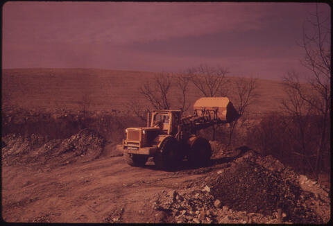 Erik Calonius - A Bulldozer Prepares A Path for One of the Huge Coal Shovels, Off Route 70 and Belmont, Ohio, and Steubenville, 1973