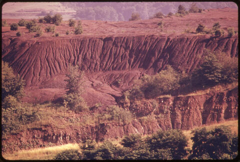 Erik Calonius - Strip Mined Land Erodes If Not Recontoured by the Coal Companies. Near New Athens, Ohio 1974