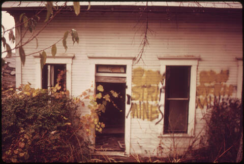 Erik Calonius - This Sign Read 'Ban Strip Mines' before Being Painted Out. Local Opposition to Stripping Is Mild Because Most People Look to the Coal Companies for Employment Since the Farm Economy Is Crumbling, 1973