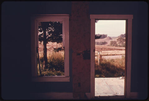 Erik Calonius - View from the Interior of an Abandoned Farmhouse Across Land Strip Mined by Coal Companies Off Route #800. Near Edgewater Park, Ohio, and Barnesville 1974