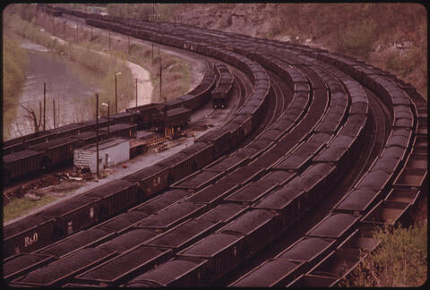 Jack Corn - A Portion of the Rail Yards at Danville, West Virginia, near Charleston Loaded with Coal Cars Ready to Be Hauled to Customers in Various Parts of the Country, 1974