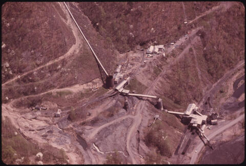 Jack Corn - Aerial of a Typical Mine in Southern West Virginia near Williamson, 1974