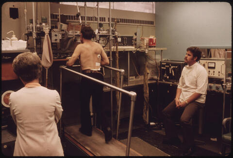 Jack Corn - Miner in the Black Lung Laboratory at the Appalachian Regional Hospital in Beckley, West Virginia, Undergoing Tests While on a Treadmill, 1974
