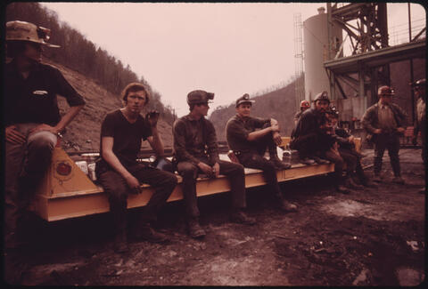 Jack Corn - Miners Waiting to Start Their 4 P.M. to Midnight Shift at Virginia-Pocahontas Coal Company Mine #4, 1974