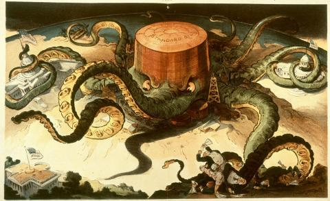 """""""Next!"""" Puck magazine, 1904. A Standard Oil tank wraps its tentacles around the Capitol, State House, and major industries, while reaching for the White House."""