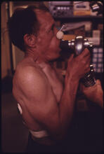 A Miner at the Black Lung Laboratory in the Appalachian Regional Hospital in Beckley, West Virginia