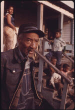 Jack Corn - Retired Coal Miner Ed Austin with Some of His 20 Children in Fireco, West Virginia, near Beckley, 1974