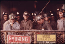 Jack Corn - Shift of Miners in the Elevator Which Will Take Them Down to Work in the Virginia-Pocahontas Mine #4, 1974