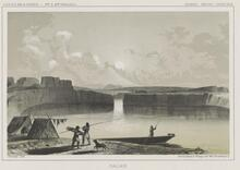 Print showing a camp on the shore of The Dalles, on the Columbia River, Oregon, ca. 1855